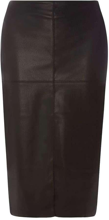 Black PU Midi Pencil Skirt