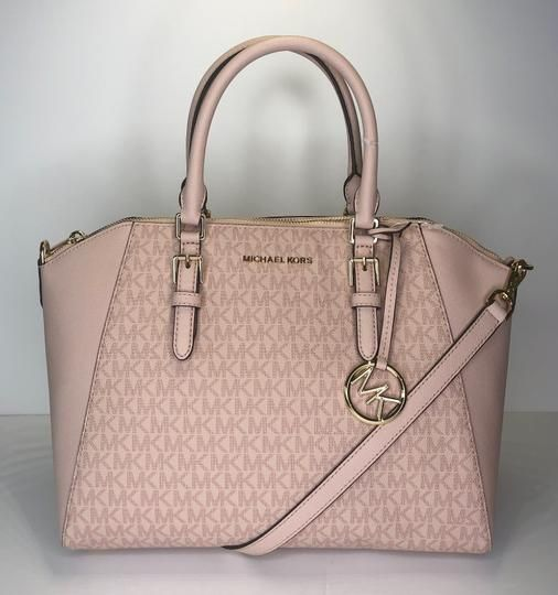 732c5130cc1510 Michael Kors Ciara Large Signature Mk Fawn/Ballet Leather Satchel. Save big  on the Michael Kors Ciara Large Signature Mk Fawn/Ballet Leather Satchel!