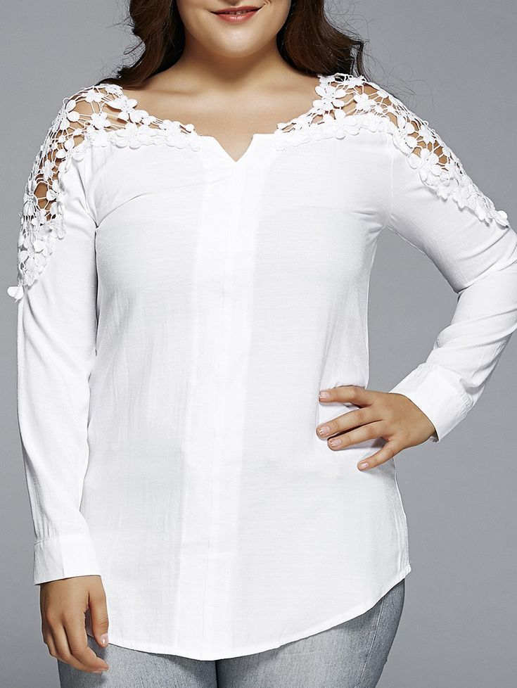 Oversized Trendy Pure Color Lace Hollow Out  Blouse