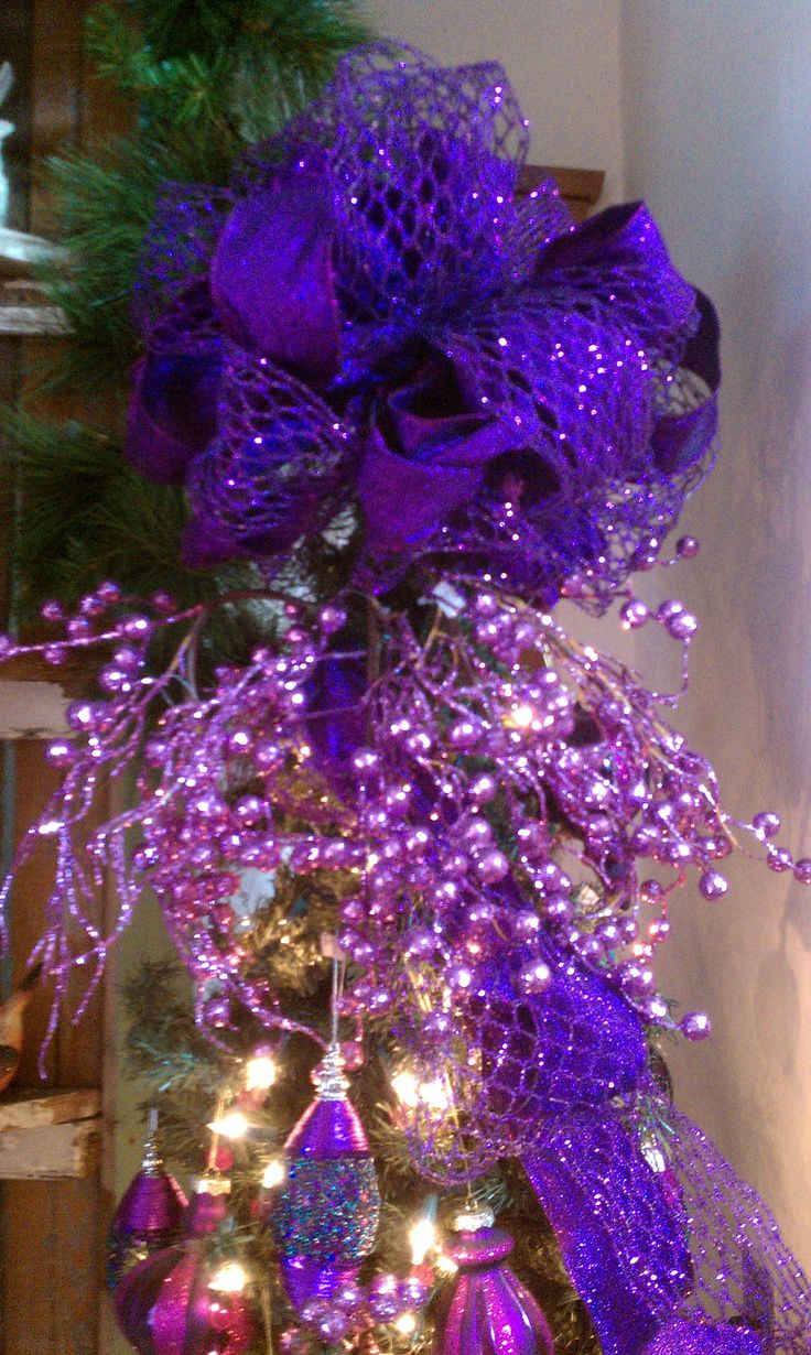 Purple decorated christmas trees - Purple Christmas Tree Topper