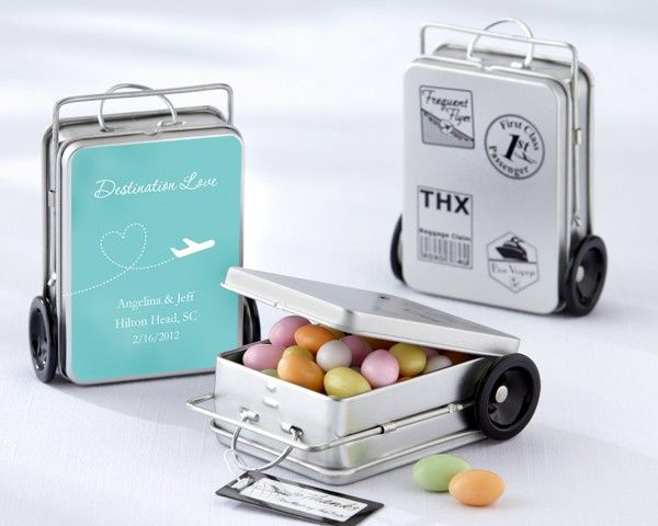 Mini Suitcases filled with candies (or whatever by ---> 50 Fab Favours for your Wedding Day!    Great for travel lovers  (gift idea, favor bag, treat bag, giveaways, party favor, wedding, occasion)