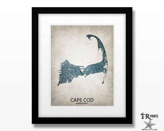 Cape Cod Massachusetts Map Art Print  Home Is Where by TRPrints