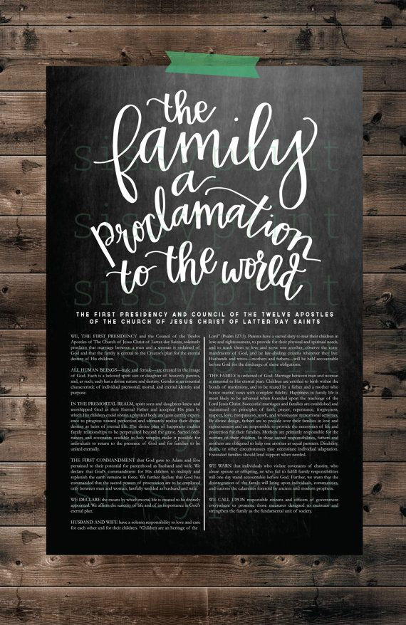Proclamation  The Family  A Proclamation to the by piperjackpress