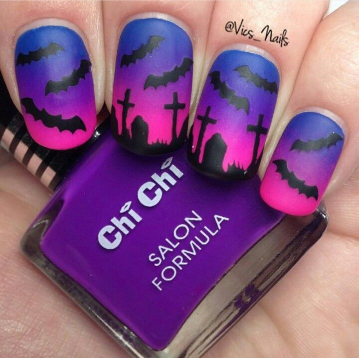 Spooky graveyard Halloween nail art, matte - 38 Best Halloween Bat Nail Art Images On Pinterest Nail Art