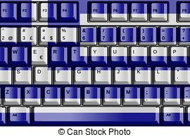 Computer Keyboard with Greece Flag Concept