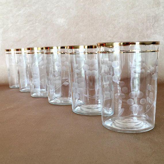 Etched Juice Glasses Gold Band Trim Flat Base Tumbler Gold Juice Glasses Bar Glassware Gold Bands