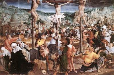 PROVOST, Jan (b. ca. 1465, Mons, d. 1529, Bruges)   Click! Crucifixion  - Oil on oak panel, 117 x 172,5 cm Groeninge Museum, Bruges  In 1971, the Crucifixion from the village church at Koolkerke entered the collection of the Groeninge Museum as a permanent loan. The existence of this large panel had hitherto been unknown, its very anonymity helping to preserve what turned out to be a masterpiece of Provost. The painting shows a dramatic, almost filmic, panorama of the scene at Golgotha…