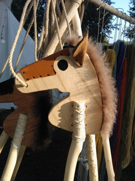 Our handmade stick horses from wood, leather and sheep skin.