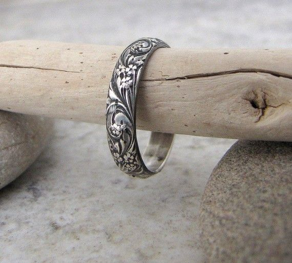 Sterling silver flower patterned ring. This is a ring I would actually wear!