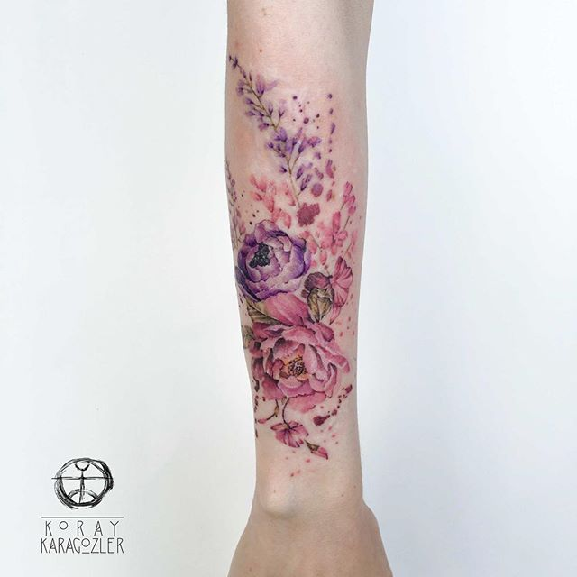 • B L O O M •  #scarcoveruptattoo #flowers #rose #peony #flowertattoo #nature #pink #purple #bouquet #watercolor #watercolortattoo #koraykaragozler #koray_karagozler #abstract #abstracttattoo
