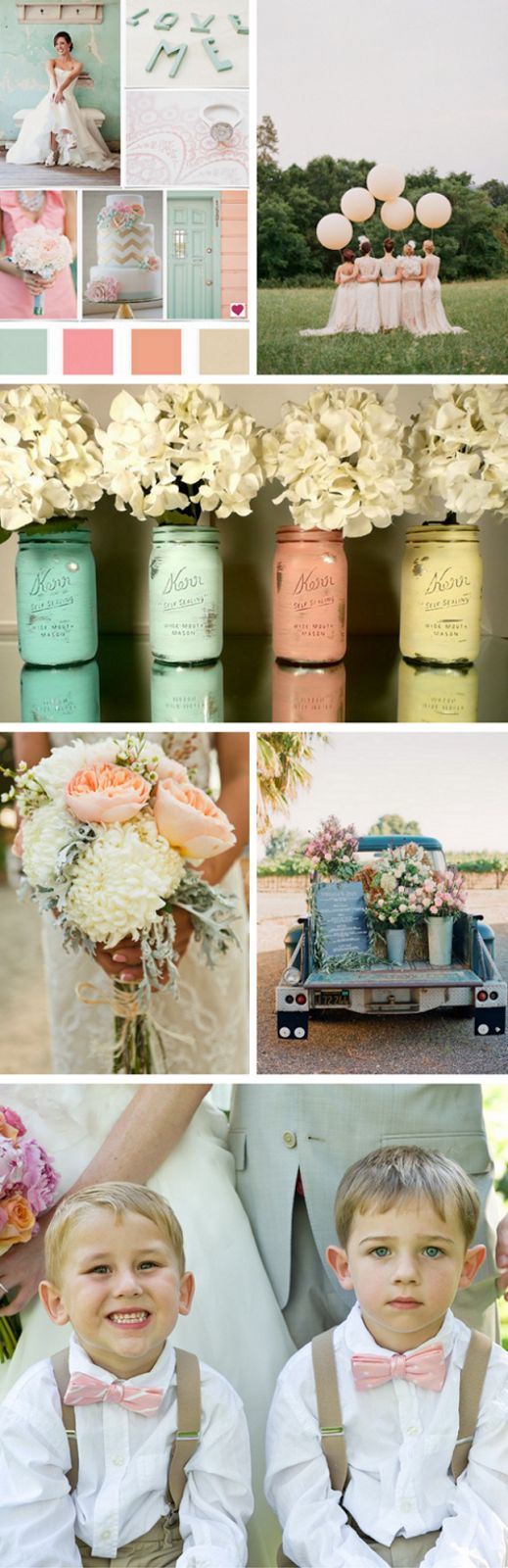 Beautiful Wedding Colors. Love the mason jars painted from the inside.