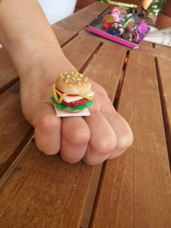 Burger Ring by polymer clay with metal base - Handmade  https://www.etsy.com/listing/476659432/burger-ring-by-polymer-clay-with-metal