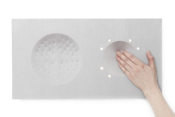 TTI (Tangible Textural Interface): consisting of 3 main functions; backwards and forwards, volume control and equalizer, having a physical feedback and control interface within one surface. As you control the functions, the left surface physically responds to the controls. Tactile surface also responds to the beat of the music. By Eunhee Jo. (2/2)