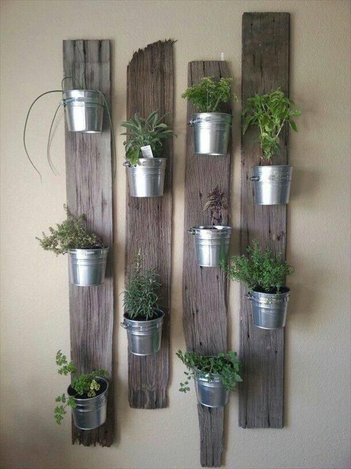 Pallet + Steel Buckets Herb #Garden - 150+ Wonderful Pallet Furniture Ideas | 101 Pallet Ideas - Part 15