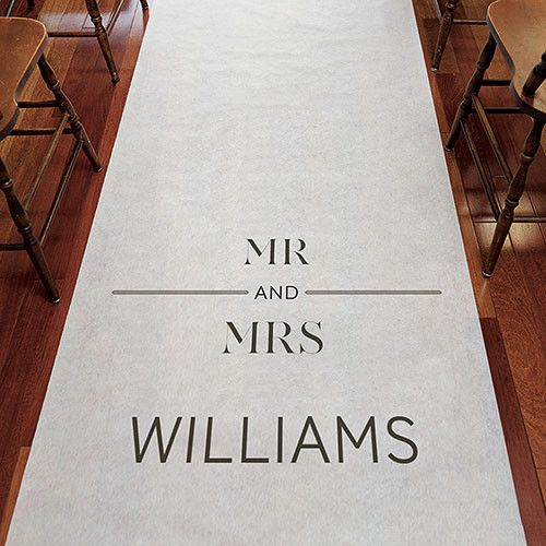 Mr and Mrs Personalized Wedding Aisle Runner   Candy Cake Weddings
