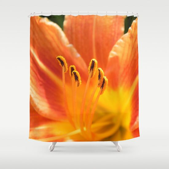 Orange lily macro Shower Curtain SALES: 1  Flower, nature, flora, blooming, blossom, closeup, close-up, lily, florescence, orange,  macro