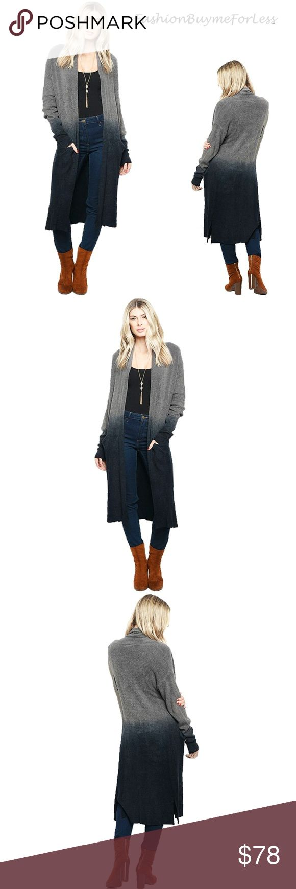BOHO Gray Maxi Duster Oversized Sweater Cardigan We accept Reasonable Offer  Color: Charcoal Gray / Navy Tie Dye Blend Feature: Oversized Material: Spandex Cotton Blend  We love the Modern Oversized Sweater Cardigan, Gypsy Flowy, Stylish 2 Tone Tie Dye Blend color, Pockets, Open Front, Drop Shoulder, Long Sleeve,  BOHO Oversized, Ribbed Hem, Highly stretchy, soft & Comfy. Modern Sophisticated Urban Fashion. P.ID: 144100389900745000192200780033  Bust:   Stretchy,  Open Front  Length from…