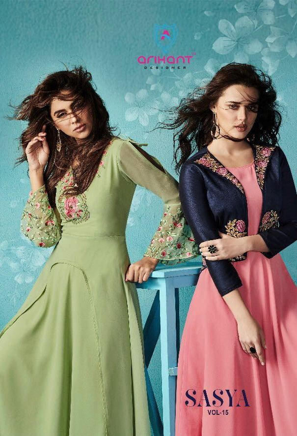 3514f556fa Arihant Designer Sasya Vol 15 Designer Party Wear Fancy Georgette with  Embroidery Work Party Wear readymade Kurtis Collection at Wholesale Rate