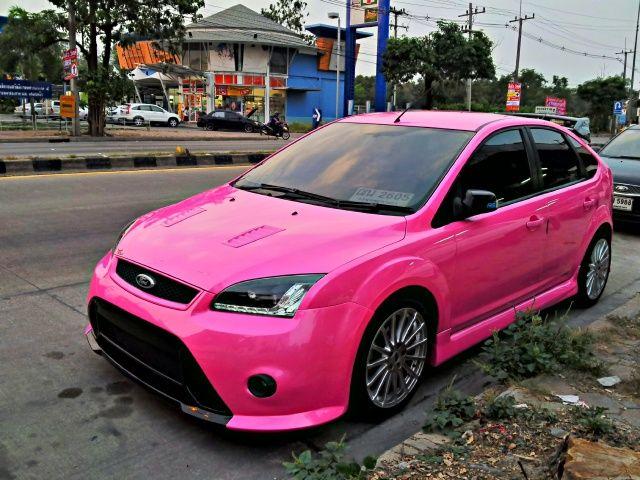 Ford focus แต่งสีชมพูสวยๆ   Ford Focus แต่ง   รถแต่ง