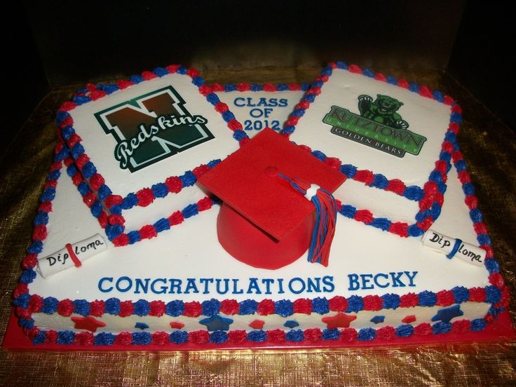 Square cakes have logos for the high school and college...