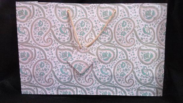 Cream Sea Green Large Printed Bag  (15)