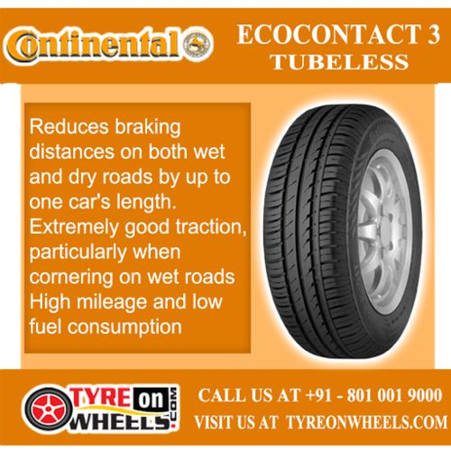 Buy Continental Car Tyres Online of Ecocontact 3 Tubeless Tyres at Guaranteed Low Prices and also get Mobile Tyres Fitting Services at your home now buy at http://www.tyreonwheels.com/tyres/Continental/ECOCONTACT-3/359