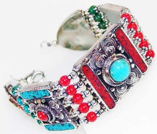Handmade Unique Sensational Ethnic Turquoise & Coral 925 Silver Plated Bracelet Silver Jewelry Bay. $85.54. Material: Silver Plated 925, Main Stone: Turquoise. Weight: 52g, Dimension: (in)L:7.75 H:0.38 W:1.00. Jewelry pieces are entirely handmade by artisans with highest quality gemstones. Main Color: Red, Shape: rectangular-shape, Theme: Beauty- -FREE GIFT BOX INCLUDED. Handmade, One Of a Kind World Wide Item - only 1 piece
