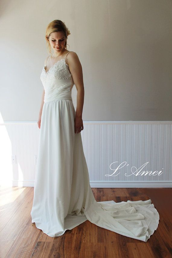 Custom Sexy Boho Cotton Deep V Neckline Wedding Dress by LAmei, $496.00