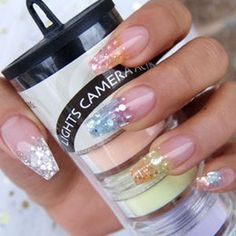 New formula for Spring nails 2014, GLitter acrylic with mylar mixed in for Spring. BLING BLING Nail Products by Tye's Dyes http://www.tyesdyes.com/lights-camera-action-new-formula/
