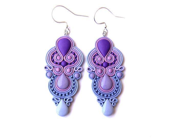 Pendientes lavanda, púrpura pendientes, joyería de la boda, damas de honor pendientes de la joyería, pendientes de la lámpara, brillante violeta, boda pendientes Fimo