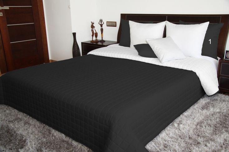 Dwustronne czarno białe narzuty na łóżko