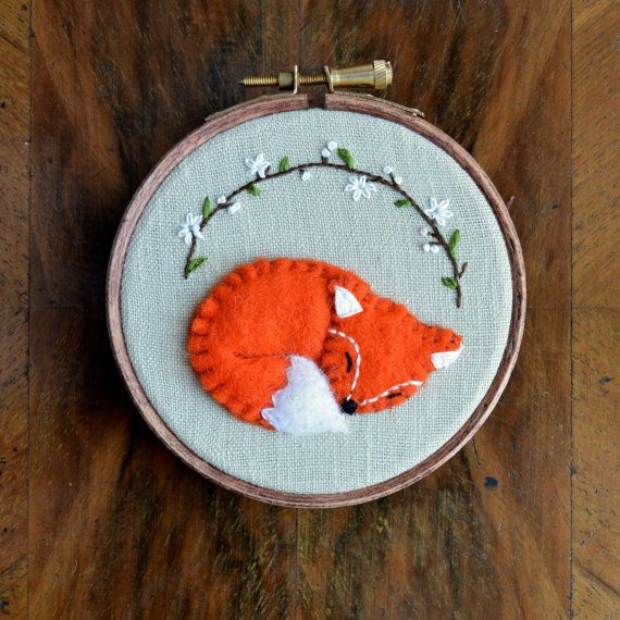Check out my new listing on Etsy! x Sleeping Woodland Fox  Embroidered Hoop Art / by CottonTalesUK