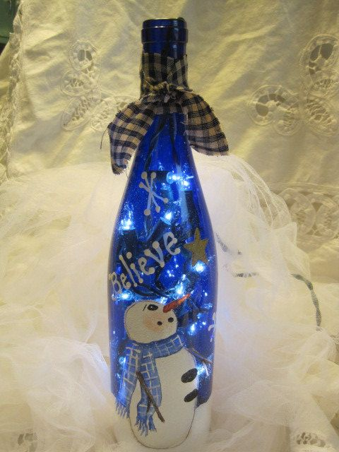 SALE-Buy One at Regular Price Get the Second One Half Price- Personalized Snowman  Accent Light-Wine Bottle