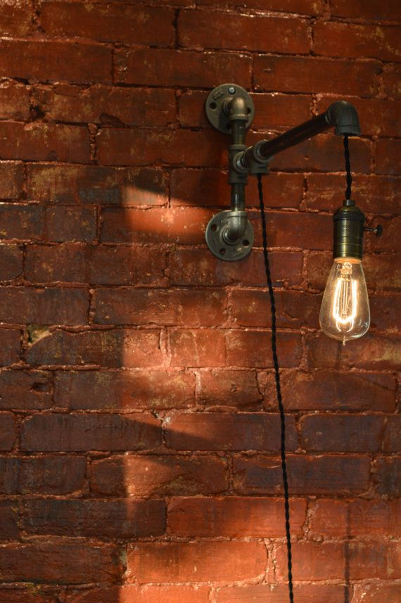 Industrial Pipe Wall Light Edison Bulb Sold by WestNinthVintage