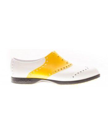 Scarpe Biion da Golf - Bianco e giallo  #yellow #camo #red #white #shoes #footwear #scarpe #golf #golfshoes #golfclothing #sport #sporty #outdoor #lifestyle  #fun #colors #colorful #fashio #elegant #style #retro #bbgolfstyle  #biion #sparetime #weekend #unisex