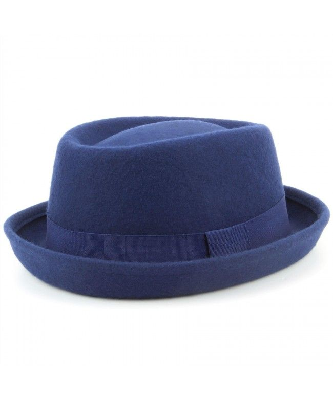Hawkins 100% Wool felt Pork pie hat with band - Blue