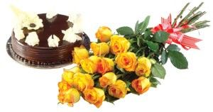 Bunch of 15 Roses with seasonal fillers wrapped in cellophane with a ribbon bows and 1 Kg Cake