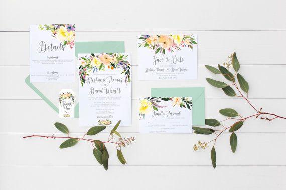 Printable wedding invitation Willow wedding invitations watercolor invitation suite watercolor wedding invites floral wedding invitation set