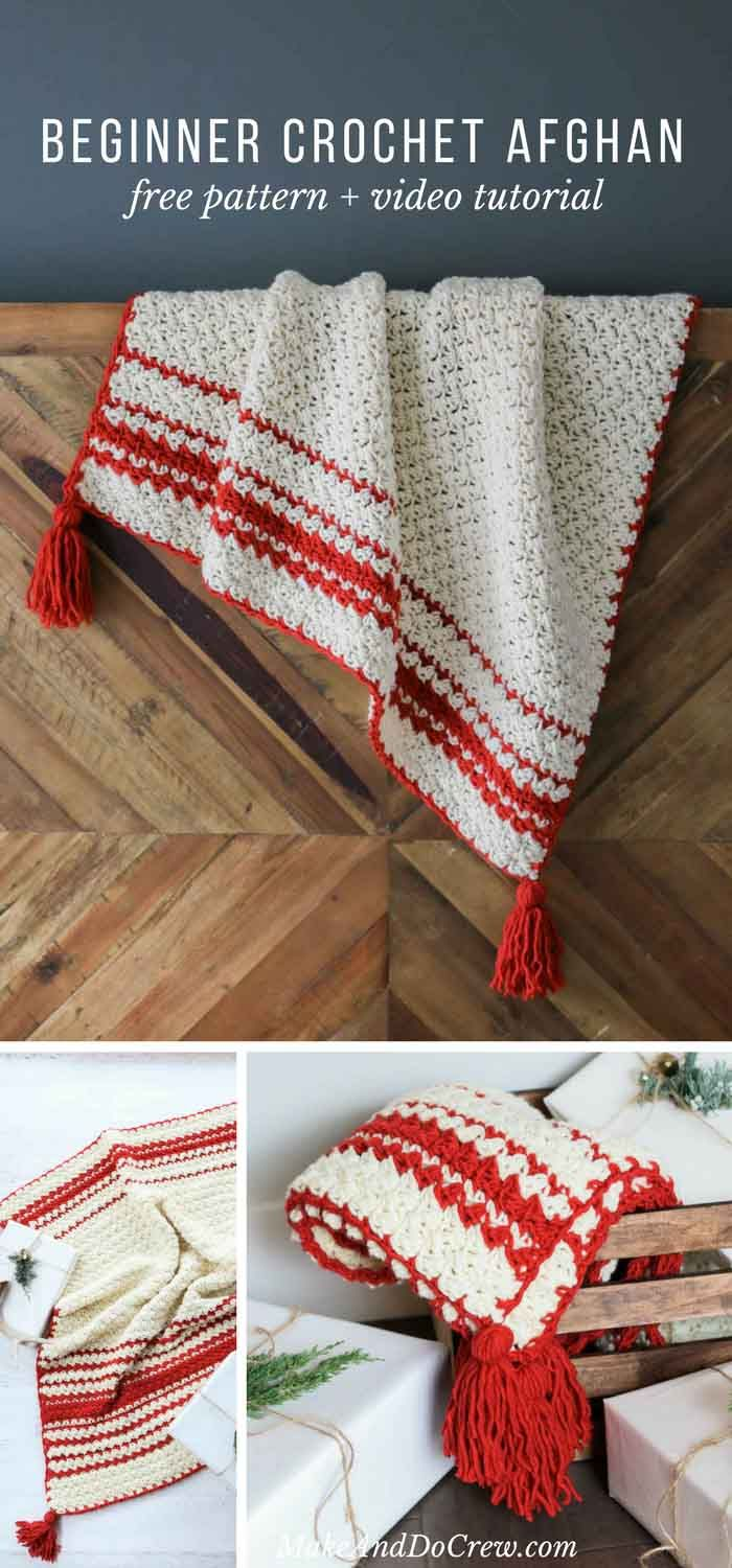 Inspired by classic woven blankets, the Hygge Holiday Throw turns any chair or couch into an inviting spot to curl up. Despite being full texture, this beginner crochet blanket pattern uses very simple crochet stitches (and there's a video tutorial!) via @makeanddocrew