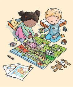 Los niños están haciendo un puzzle