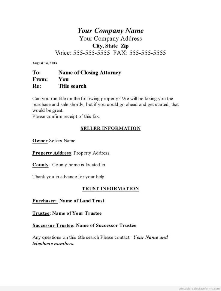 fax forms template