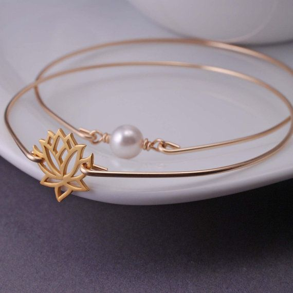 Lotus and Pearl Bangle Bracelet Set by georgiedesigns