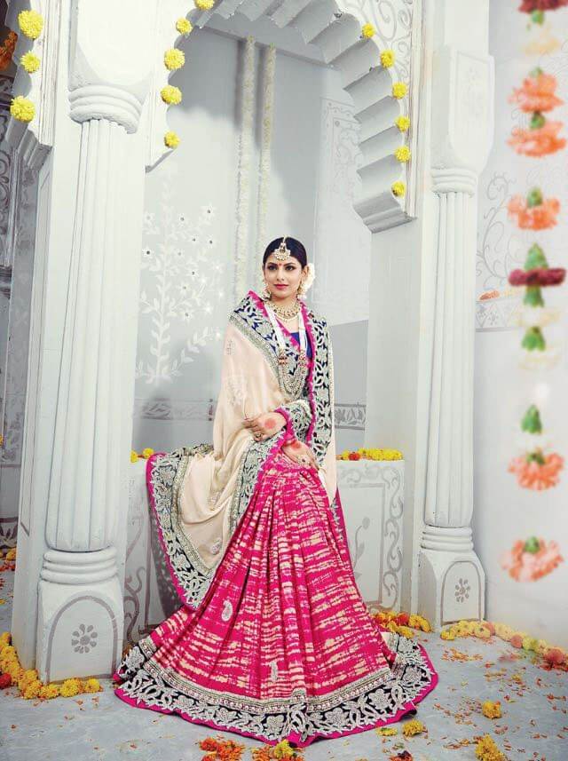 White & Pink Pure Georgette and Banaras Silk Designer Saree with Heavy Work Border and Melbourne Silk Blouse.