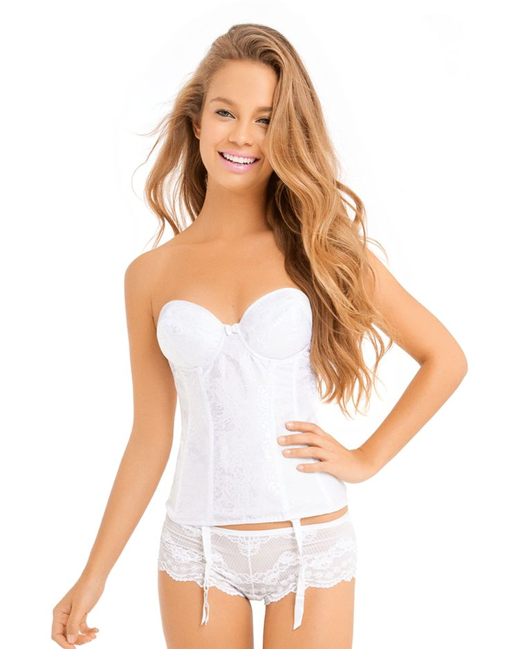 This white corset with jacquard detailing is perfect for bridal boudoir.