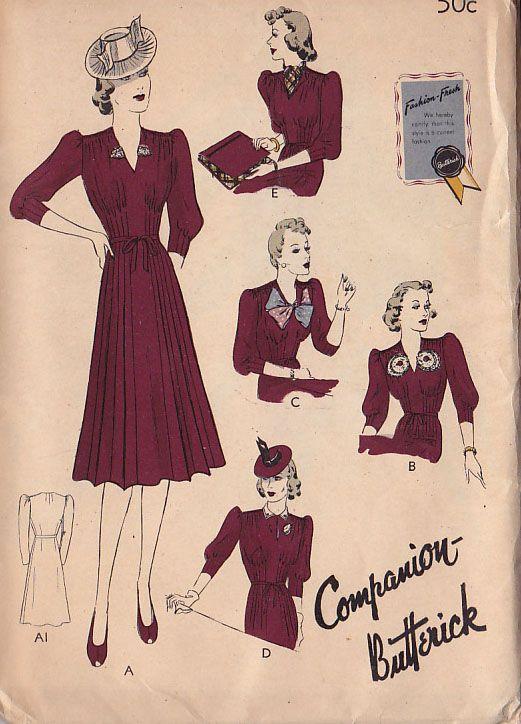 Butterick 8558 circa 1939 dress with detachable accessories & reversible bag