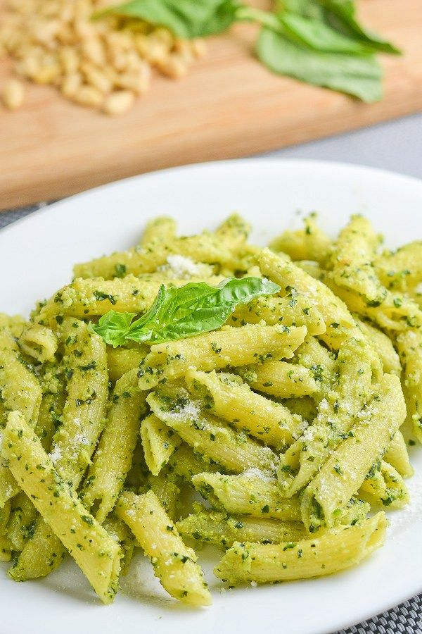 This pesto penne recipe is quick and easy to make. The pesto sauce is homemade and consists of parmesan, pine nuts, basil, garlic and olive oil.