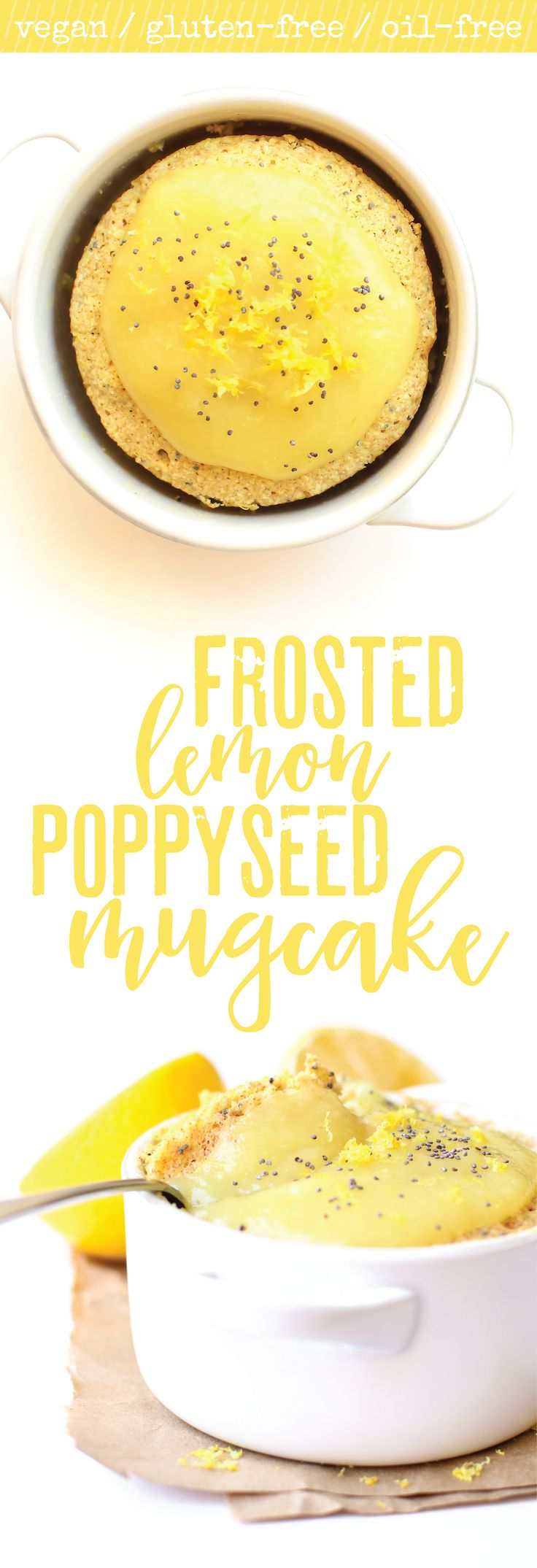 Lemon poppy seed cake for one made in just minutes and topped with a sweet fruity frosting! Vegan. Gluten-free. Oil-free.