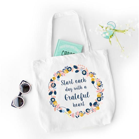 Custom Tote Bag, quote tote bag, Personalized Name Tote Bag, Canvas Cotton Tote Baby , Floral tote bag, Grateful heart, Custom tote bags.