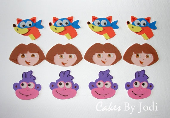 DORA THE EXPLORER Inspired Edible Fondant Cupcake/Cookie Toppers