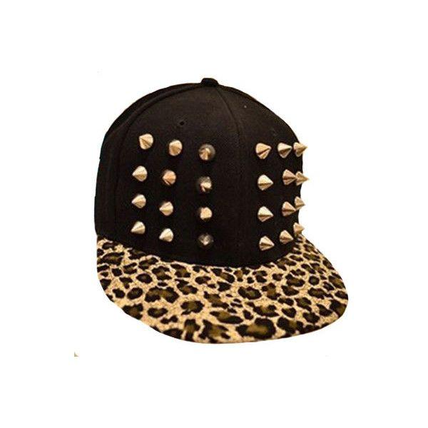 Street-chic Punk Style Rivet Leopard Print Canvas Cap - Hats & Beanies... via Polyvore
